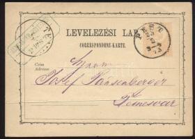 1873 2kr díjjegyes levelezőlap PEST / 3-4 - Temesvár