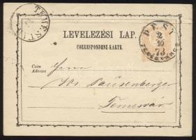 1873 2kr díjjegyes levelezőlap PEST / TERÉZVÁROS - TEMESVÁR