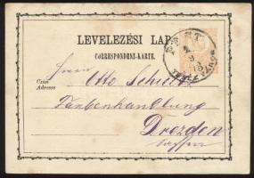 1873 2kr díjjegyes levelezőlap PEST / TERÉZVÁROS - Drezden