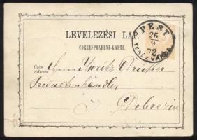 1872 2kr díjjegyes levelezőlap PEST / TERÉZVÁROS - Debrezin