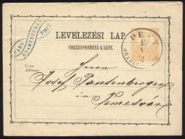 1873 2kr díjjegyes levelezőlap PEST / JÓZSEFVÁROS - Temesvár