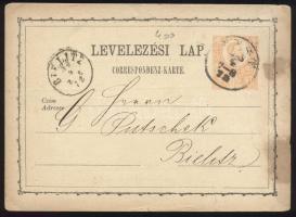 1873 2kr díjjegyes levelezőlap, hátoldalon: malom lisztárjegyzéke PEST / 7-8 - BIELITZ