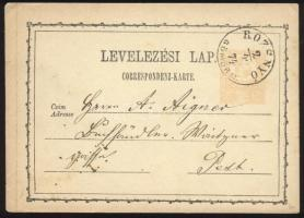 1874 2kr díjjegyes levelezőlap ROZSNYÓ / GÖMÖRM. - BUDAPEST FŐPOSTA