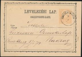 1874 2kr díjjegyes levelezőlap / PS-card RUSZKA-BÁNYA - NADRAG