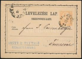 1874 2kr díjjegyes levelezőlap - PS-card SEGESVÁR / SEGESVÁRSZÉK - (TEMES)VÁR