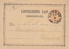 1874 2kr díjjegyes levelezőlap SOPRON / DÉLELŐTT - Ebenfurth