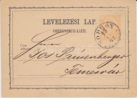 1872 2kr díjjegyes levelezőlap SOPRON / (DÉLELŐTT) - Temesvár