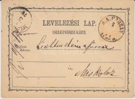 1874 2kr díjjegyes levelezőlap S.A.UJHELY / ZEMP. M. - MISKOLCZ