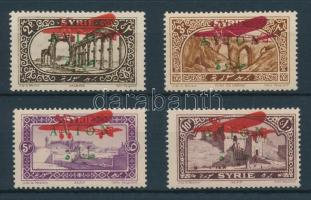 1925 Kiadatlan légiposta bélyegek Mi 276-279 további (piros repülő) felülnyomással / Unissued airmail stamps with further (red airplane) overprint