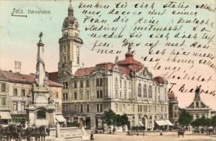 Pécs, Városháza, Szentháromság szobor, férfi szabó, Weidinger üzlete, Magyar-Francia üzlet