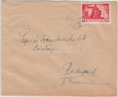 1946 (7. díjszabás) Távolsági levél Újjáépítés 3000P bérmentesítéssel