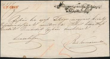 1847 Ex offo piros / red V.F.OFEN - Rév Komárom