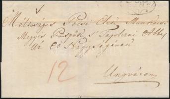 1829 Portós levél V.MISKÓLCZ - Ungvár