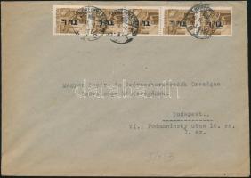 1946 (7. díjszabás) Távolsági levél 5x Betűs I. Tl.I./10f ötöscsík bérmentesítéssel