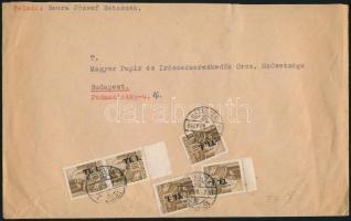1946 (7. díjszabás) Távolsági levél 5x Betűs I. Tl.I./10f bérmentesítéssel (kicsit szakadt borítéksarok)