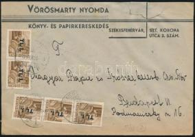 1946 (7. díjszabás) Távolsági levél (céges boríték) 5x Betűs I. Tl.I./10f bérmentesítéssel