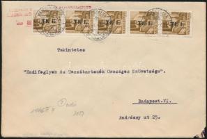1946 (7. díjszabás) Távolsági levél 5x Betűs I. Tl.I./10f (ötöscsík) bérmentesítéssel