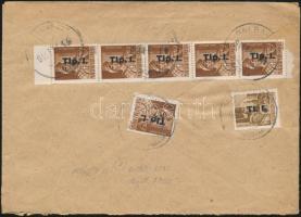 1946 (7. díjszabás) Távolsági levél Betűs I. Tl.I./10f + 6x Tlp.I./4f bérmentesítéssel