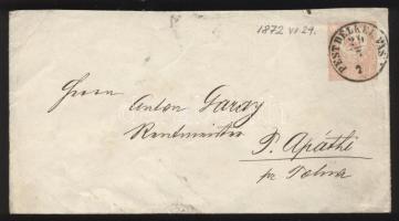 1872 Díjjegyes boríték PEST DÉLKEL. VASP - TOLNA - P. Apáthi