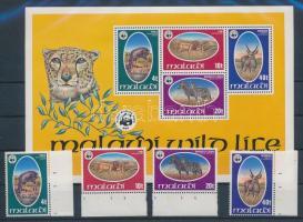 1978 WWF Védett, vadon élő állatok ívszéli sor Mi 297-300 + blokk 52