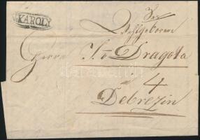 1835 Portós levél N:KAROLY - DEBRECZIN