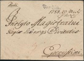 1784 Portós levél / cover with postage due von Ofen. - Eperiessini