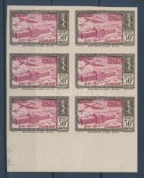 1951 Mi 333 vágott ívszéli hatostömb / imperforate margin block of 6