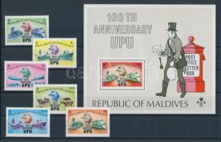 1974 100 éves az UPU sor Mi 514A-519A + blokk 25A