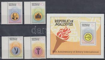 1980 75 éves a Rotary sor Mi 870-873 + blokk 64