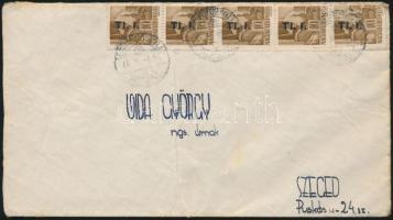 1946 (7. díjszabás) Távolsági levél 5x Betűs Tl.I./10f bérmentesítéssel