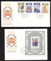 1981 Károly herceg és Diana hercegnő esküvője sor Mi 192A-195A + blokk 16 2 FDC-n
