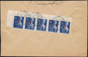 1946 (7. díjszabás) Helyi céges levél 5x Betűs Hl.I/50f bérmentesítéssel (a tetején levágva)