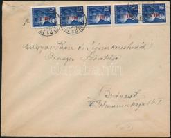1946 (7. díjszabás) Helyi levél Betűs 5x Hl.I/50f bérmentesítéssel