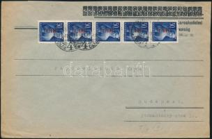 1946 (7. díjszabás) Helyi levél 5x Betűs Hl.I/50f bérmentesítéssel