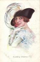 Italian art postcard, lady with hat s: Usabal, Olasz művészlap, hölgy kalappal s: Usabal