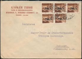 1946 (7. díjszabás) Helyilevél 5x Betűs Tlp.I/4f bérmentesítéssel