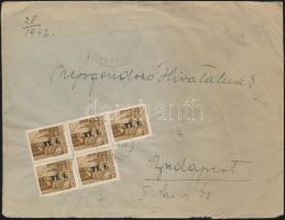 1946 (7. díjszabás) Helyi levél 5x Betűs Tlp.I/4f bérmentesítéssel