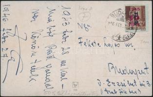 1946 (7. díjszabás) Helyi képeslap Betűs Tl.2./4f duplájára túlbérmentesítve (1500P helyett 3000P)
