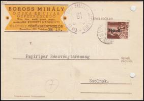 1946 (7. díjszabás) Távolsági céges levelezőlap Betűs Tlp.2./4f bérmentesítéssel (középen hajtás)