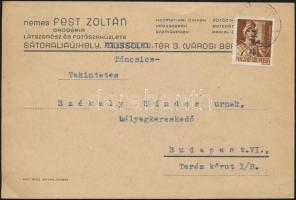 1946 (7. díjszabás) Távolsági levelezőlap Betűs Tlp.2./4 bérmentesítéssel