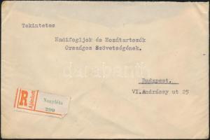 1946 (7. díjszabás) Ajánlott távolsági levél 5x Betűs Ajl.I./20f + 5x Tl.I./10f bérmentesítéssel