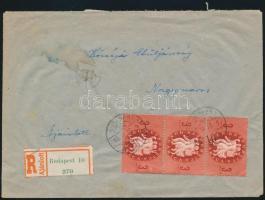 1946 (7. díjszabás) Ajánlott távolsági levél 3x Köztársaság 3ezerP bélyeggel bérmentesítve