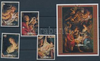1988 Karácsony, Rubens festmények sor Mi 737-740 + blokk Mi 113