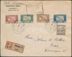 1924 (13. díjszabás) Ajánlott légi levél Arató,Ikarusz és Madonna bérmentesítéssel Gráczba / Airmail cover to Austria