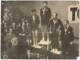 cca 1970 3db, különböző versenyeken készült fotó Klampár Tibor (1953) Európa- és világbajnok asztaliteniszezőről, 13x18-18x24cm