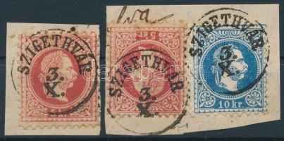 1867 Szigetvár provizórium színes - többes bérmentesítés - egy levélről származó 2 db provizórium + 1 db 10kr bélyeg 3./X. az ismert legkorábbi dátummal 2 kivágáson. Három bélyeges kombinációban az egyetlen ismert darab! / 2 cuttings from the same cover with 2 copies of the Szigetvár provisional issue - 5kr stamp prepared of 5kr PS-cover - + a 10kr stamp. A unique combination with the earliest known postmark date. Certificate: Visnyovszki