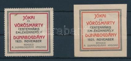 1925 Jókai és Vörösmarty emlékünnep fogazott + vágott levélzáró