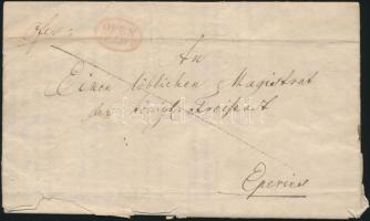 1838 Félportós levél / cover with half postage due piros / red OFEN / FRANCO - Eperies