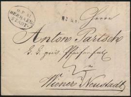 1837 Portós levél / cover with postage due O=P=A= / HERMANN: / :STADT. - Wiener Neustadt