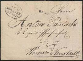 1837 Portós levél / cover with postage due O=P=A= / HERMANN: / :STADT. - Wiener Neustadt